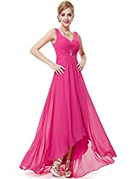a79e5f0c8322 Ever Pretty Womens Double V-Neck Rhinestones Ruched Bust High Low Evening  Dress 09983