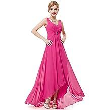 ea6dc4768f Ever-Pretty Vestido de Fiesta Noche Largo para Mujer Cuello V Gasa Vestido  de Fiesta