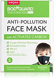 BodyGuard N99 + PM2.5 Anti Pollution Face Mask with 6 Layers Protection Activated Carbon, Nose Clip for Better