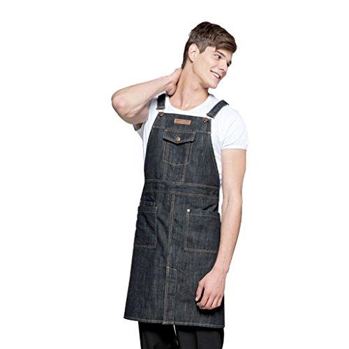 Delantal del cocinero Durable Denim Negro Delantal con bolsillos para hombres y mujeres de largo