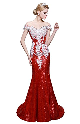 Beauty-Emily-Boot-Ausschnitt Pailletten Applikationen Meerjungfrau Sweep Tailing Off Shoulder Tunnelzug Sexy Quinceanera Abendkleider vestidos de festa Farbe Rot. Größe 46 (Vestidos De Quinceanera)