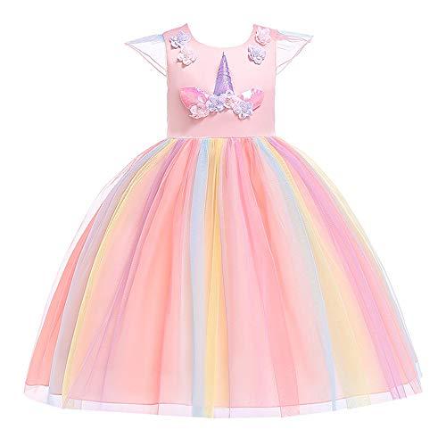 Angelland Einhorn Kostüm Tütü Kinder Kleid Mädchen Sommerkleid Einhorn Party Deko Kindergeburtstag Geschenk mit Einhorn Haarreif, 7-8J (Höhe 44.5-48.5'') Rosa
