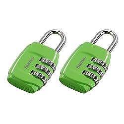 Hama Zahlenschloss (für Koffer und Gepäck auf Reisen) 2er Set, grün
