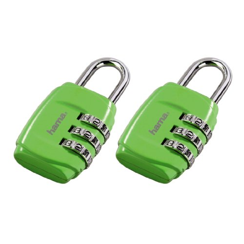 Hama Zahlenschloss (für Koffer und Gepäck auf Reisen) 2er Set, grün -