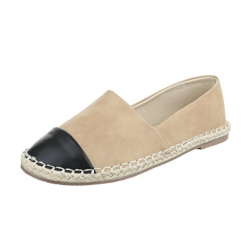 Pantofola Da Donna Low-top Block Tacco Moderno Mocassino Ital-design Beige