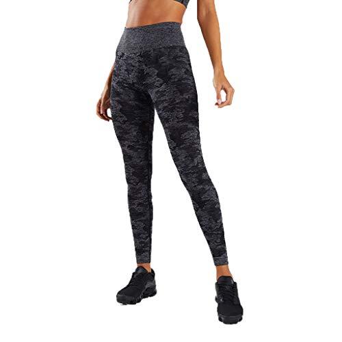 WOZOW Damen Leggings Gamaschen Farbverlauf Camo Print Druck Dünn Skinny Stretch Trousers Sweathose Lang Long Workout Jogginghose Yoga Sport Hose Stoffhose (L,Schwarz)