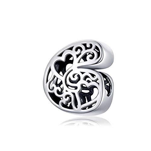 lber Charm Bead 26 Buchstaben Alphabet Initial Personalisierte Frau Hohl Charms Perlen Kompatibel Europa Armband & Halskette,G ()