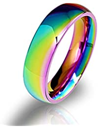 European and American Fashion Seven Rainbow Stainless Steel Dazzle Color Wholesale Rings