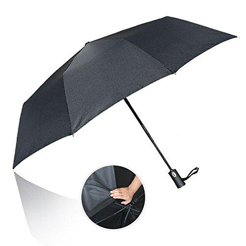 Schütteln Van (Winddicht Regenschirm,10 Rippen 60Mph Windschutz Stockschirm/Outdoor Regenschirm mit einhändiger Auf-Zu-Automatik,210T Schnell Trocknenden Material Faltbar mit Rutschfesten Griff für Reise(schwarz))