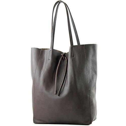borsa in pelle Borsa donna Borsa shopper Borsa a tracolla grande in pelle T163 Dark Chocolate