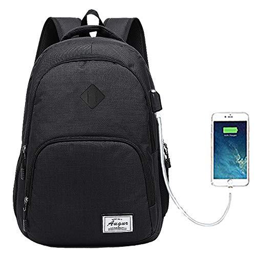 Rucksack Herren Damen Schulrucksack Jungen Teenager Laptop Rucksack Computer Rucksack mit 15.6 Zoll Laptopfach, Wasserdicht, USB-Ladeanschluss, 20-35L (Schwarz)
