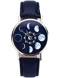 Relojes Pulsera Mujer,Xinan Cuero Lunar Analógico Reloj de Cuarzo (Negro)