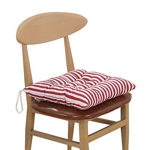 KeandYaoYao Sitzmatte, 40 x 40 cm, weich gestreift, kariert, für Zuhause, Büro, Stuhl, zum Anbinden rote Streifen