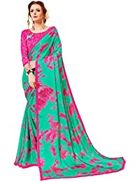 335003896a Gaurangi Creation Women's Printed China Chiffon Festive Wear Saree (DNL2006  Green & Pink)