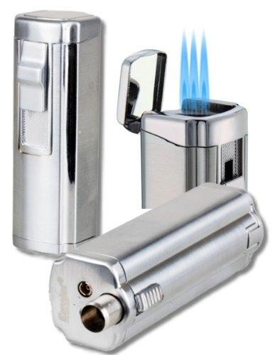 3fach-Jet Zigarrenfeuerzeug - Bohrer Schnappmechanik Eurojet chrom