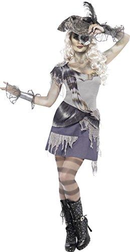 Smiffys, Damen Geisterpiratin Kostüm, Kleid und Augenklappe, Größe: S, (Einfache Piraten Männer Kostüm)