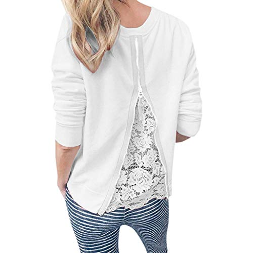 Yvelands Damen Sweatshirt T-Shirt O-Ausschnitt Langarm Spitze Patchwork Sweatshirt Bluse Tops(Weiß,M) - Gear Performance Tee