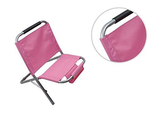 Vetrineinrete® spiaggina con portaoggetti riviste in metallo e tessuto pieghevole sedia sdraio per mare e piscina rosa p39