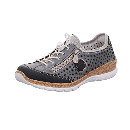 Rieker Damen N42P6-14 Sneaker Blau (Pazifik/Atlantic/Altsilber/Silverflower 14) 39 EU