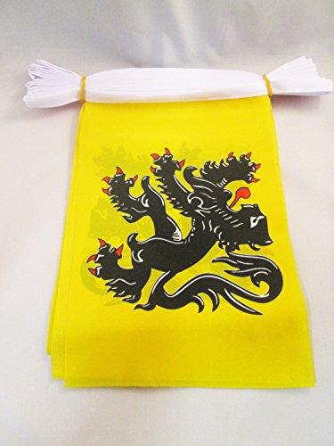 AZ FLAG Guirnalda 12 Metros 20 Banderas de FLANDES 45x30cm - Bandera Flamenca - BÉLGICA 30 x 45 cm - BANDERINES