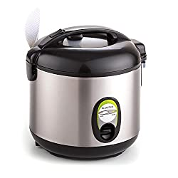 Klarstein Sapporo - Reiskocher, Reisbereiter, Reiskochtopf, 400 Watt, 1 Liter, Edelstahlgehäuse, Warmhaltefunktion, Antihaftbeschichtung, silber