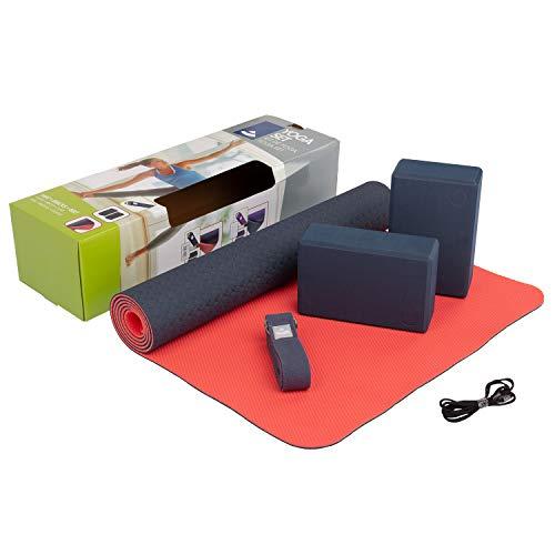 "Yoga-Set""Flow"", 1 Yogamatte aus TPE, 2 Yoga-Bricks aus EVA (Moosgummi), 1 Yoga-Gurt aus Baumwolle, Einsteiger-Set für Yoga-Anfänger"