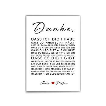 Danke liebe – Liebeserklärung Poster Personalisiert – din a4 | 30×40 cm – Typo – Namen personalisiert – Personalisiertes Geschenk für Männer Frauen – Hochzeit/paare – ohne Bilderrahmen