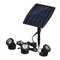 Lixada Solarspots 3 Unterwasser Lampen 18 LED Projektor Unterwasser Scheinwerfer Außenbeleuchtung
