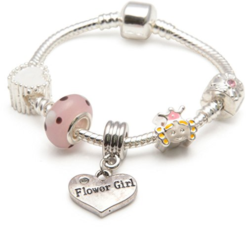 Liberty Charms Childrens Kids 'Little Princess' Flower Girl Silver Plated Charm Bead Bracelet. With Gift Box & Velvet Pouch 16cm (Other sizes available)