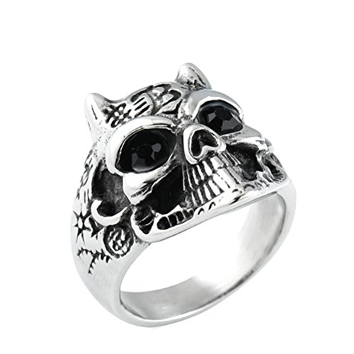 HIJONES Herren 316l Edelstahl Vintage Tier Mit Strass Auge Totenkopf Ring Schwarz Größe - Großhandel Halloween Totenköpfe