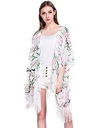 Femmes Floral Couvrez-vous,Mousseline Chales Cardigan Robes de chambre et kimonos Tops Outwear Blouse avec Fringes(Taille unique)
