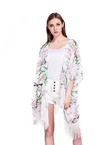 Femmes Floral Couvrez-vous,Mousseline Châles Cardigan Kimono Tops Outwear Blouse avec Fringes(Taille unique)