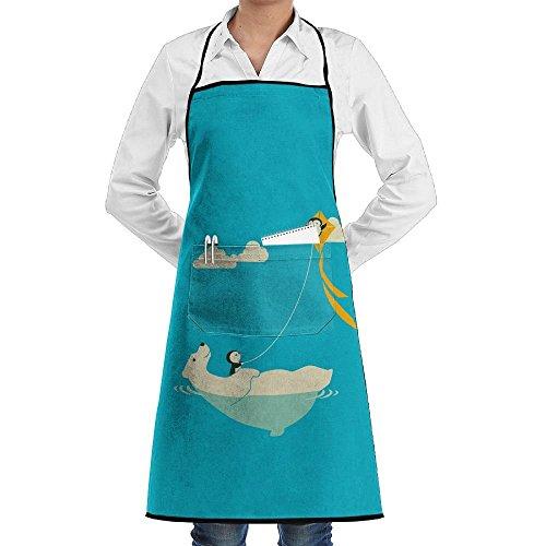 Flying Penguin Kite On Polar Bear Schürze Lace Adult Mens Womens Chef Adjustable Polyester Long Full Black Cooking Kitchen Schürzes Bib With Pockets For Restaurant Baking Crafting Gardening BBQ (Adult Polar Bear Kostüm)