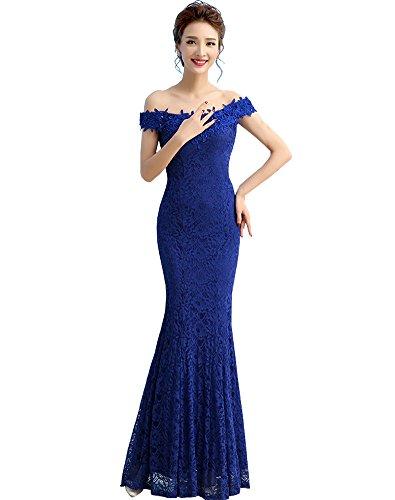 Erosebridal Damen Lange Spitze Abendkleid Meerjungfrau Ballkleid Blau