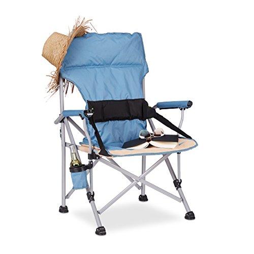 Relaxdays Chaise de Camping Pliable avec accoudoirs Porte-Boisson Fauteuil pêche HxlxP: 102 x 66 x 61 cm, Bleu