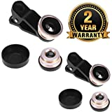 Cospex [Buy ONE GET ONE Free] Universal Clip-On 3 in 1 Mobile Cell Phone Camera Lens Kit 180 Degree Fisheye Lens+Wide Angle+Macro Lens