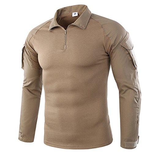 Khaki Bdu Shirt (Herren Schlank Passen Taktisch Militär T-Shirt Camouflage Airsoft Paintball Armee Tarnung Kampf Lange Hülse Shirts Khaki Medium)