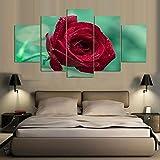 DGGDVP 5 stück Rote Rose Wandbilder für Wohnzimmer Cuadros Decoracion Dormitorio Blumendekor Leinwandbild Größe 2 kein Rahmen