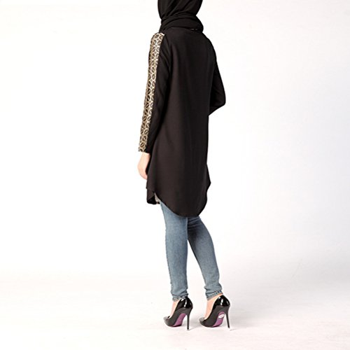 Zhhlaixing Donne Muslims Arab Long Shirt Long Sleeves Arab Clothes Ramadan Shirts Clothes Black