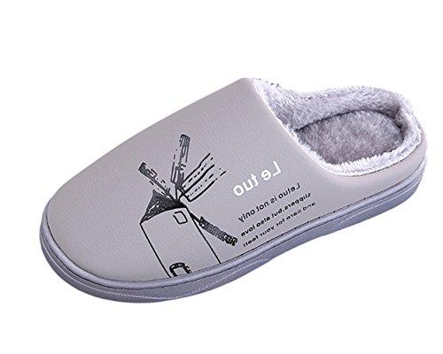 Insun Unisexe Pantoufles avec Doublure Intérieure thermique Plat Chaussons Mules Slippers Gris