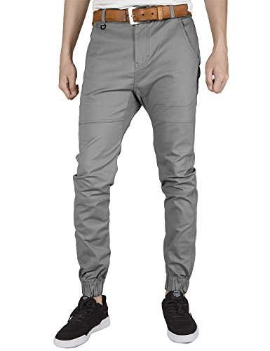 Training Baggy Pants (ITALY MORN Herren Chino Jogger Hose Sweatpants Elastisch Manschette Hose Jogging Baggy Hose Slim Trainings Pants Twill (2X-Large, Mitte Grau))