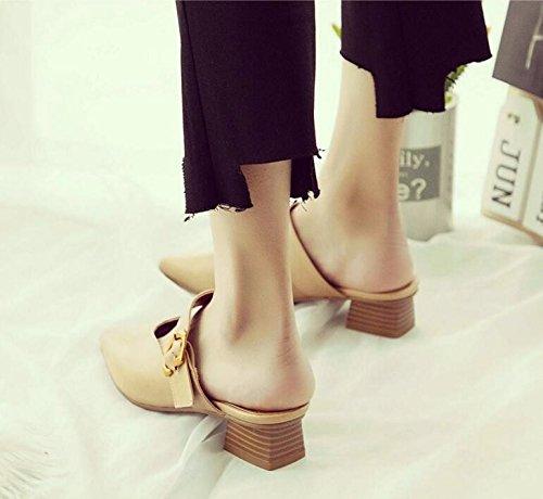 Bbslt-retro 4cm Suivie Par Semi-slippers Baotou Clip De Ceinture De Printemps Et D'usure Avec Des Pantoufles Gras Conseils Féminins Cool Et Noir