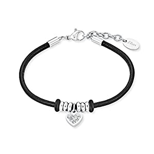 S.Oliver Kinder Armband Herz Edelstahl Leder schwarz Glas Kristalle 14+2 cm weiß