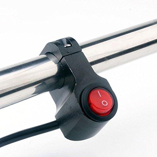 ZHUOTOP 7/8 Zoll Lenkerhalterung Töten ON-OFF-Taste Schalter Lenkerschalter Ohne Pilot Lampe für 12 V Motorrad Roller ATV Dirt Fahrrad,rot+schwarz - Rot Pilot Lampe