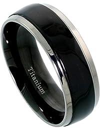 Titanium 8mm Domed Wedding Band Ring Blackened Stripe Center Mirror Beveled Edges Comfort-fit, sizes N to Z+3