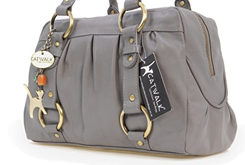 Catwalk Collection Handbags, Borsa con manici, Donna Grigio