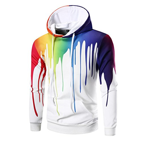 Kapuzenpullover Herren Sonnena Winter Hoodie Sweatshirt Slim Fit Herbst Bunt 3D Digital Print Kapuzenpullis Pullover Langarm Coat Jacket Outwear Sweater Tops Blouse mit Taschen (Weiß, 2XL) (Calvin Klein-cotton Tunika)