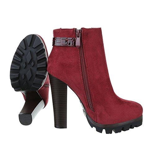 High Heel Stiefeletten Damen Schuhe Schlupfstiefel Pump High Heels Reißverschluss Ital-Design Stiefeletten Weinrot