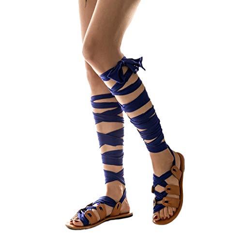 UOMOGO Scarpe da Donna con Cinturino alla Caviglia con Cinturino alla Schiava in Sandali con Lacci in Bende, Bohemian Scarpe Sandali
