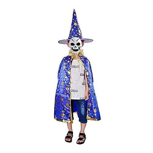Party Diy Decorations - Halloween Children Wizard Cloak Cape Robe Witch Hat Fancy Star Pattern Masquerade Cosplay Festival - Decorations Party Party Decorations Cape Cloak Medieval Robe With H (Capes Und Roben)